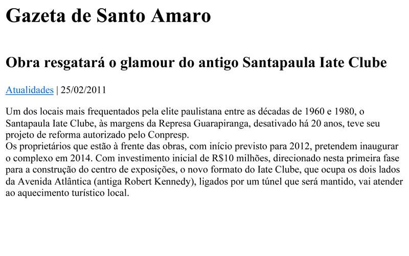 Obra resgatará o glamour do antigo Santapaula Iate Clube
