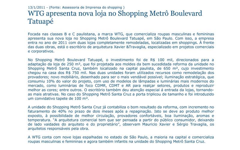WTG apresenta nova loja no Shopping Metrô Boulevard Tatuapé
