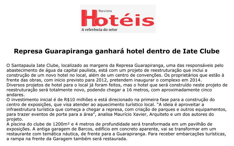 Represa Guarapiranga ganhará hotel dentro de iate Clube